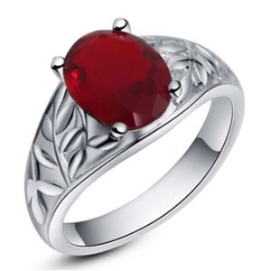 NEW MEN'S Crimson Opal CZ Silver Ring .925 Plated